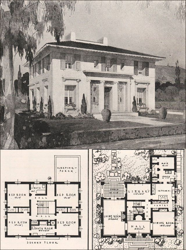 Italian Architecture House Plans | 1916 Ideal Homes in Garden Communities