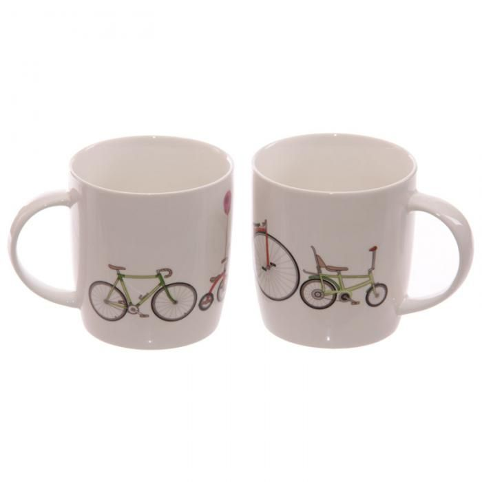 Hrnek z čínského porcelánu Retro kolo, dárkový set 2ks #hrnek #dekorace #doplnky #kolo #bicycle #accessories #giftware #mug #giftideas
