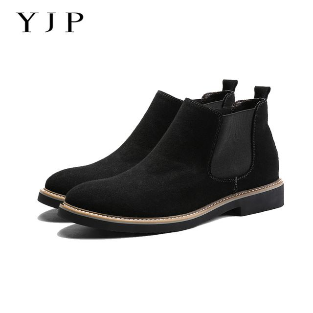 Fair price YJP Genuine Leather Chelsea Boots, Black/Grey/Blue Suede Leather Casual Shoe, Vintage Slip-on Ankle Boot, Men's Leisure Boots just only $38.37 with free shipping worldwide  #menshoes Plese click on picture to see our special price for you