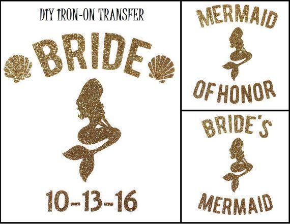 Diy BRIDAL MERMAID BRIDE Iron On Vinyl Applique by wingsnthings13