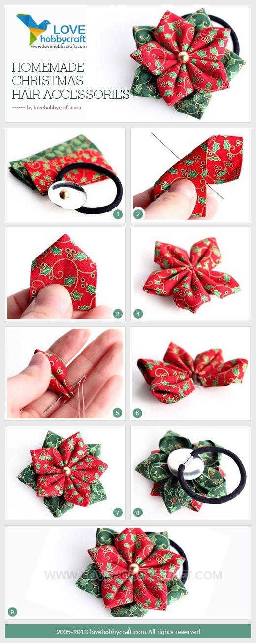 DIY Christmas Hair Clip - I'd use a hair pin instead of a hair tie.