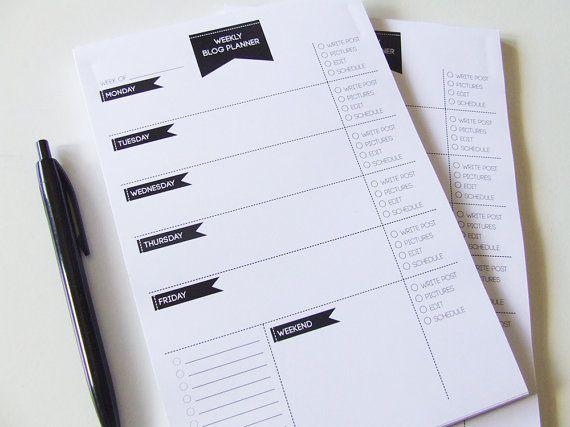 Weekly Blog Planner Notepad - To do List - Desk Pad - Undated Planner - Minimalist - Colab with Plan with Anita