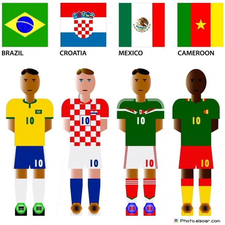 #WorldCup 2014 Group A Teams with #Flags: Brazil, Croatia, Mexico, Cameroon