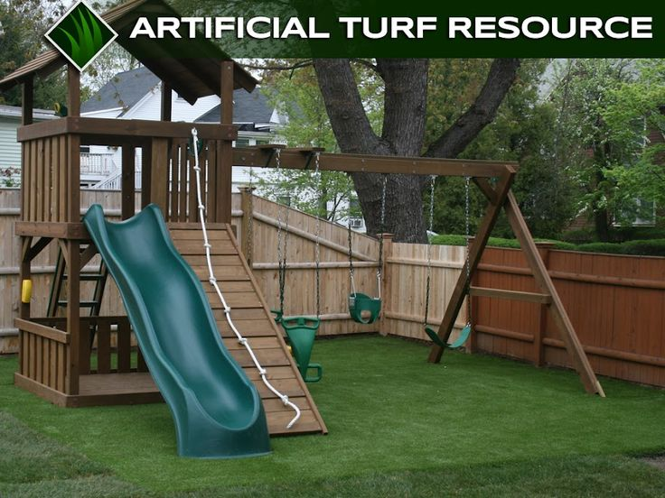 Artificial turf is a great option for backyard playgrounds.