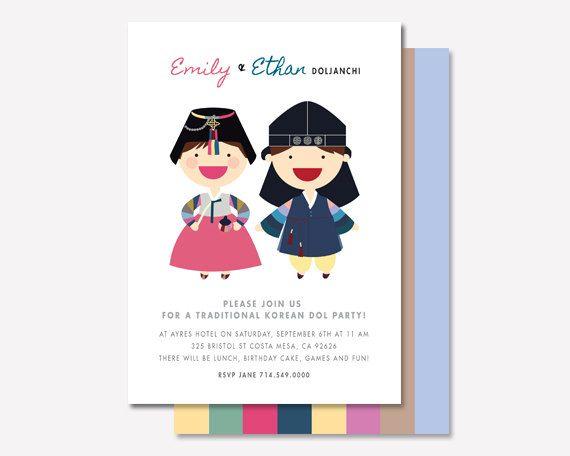 57 best doljanchi korean first birthday images on pinterest doljanchi invitation custom boy girl twins korean first birthday dol doljanchi printable digital file filmwisefo
