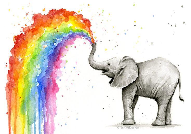 Lindo bebé elefante pulverización arco iris - impresión del arte poster de mi acuarela original. Esta impresión caprichosa y colorida es un regalo