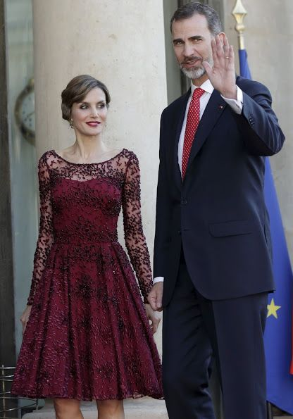 Queen Letizia of Spain and King Felipe VI of Spain attends for the State Dinner hosted by French President François Hollande at the Elysee Palace on June 2, 2015 in Paris, France. (King Felipe of and Queen Letizia of Spain are on a three-day visit in France)
