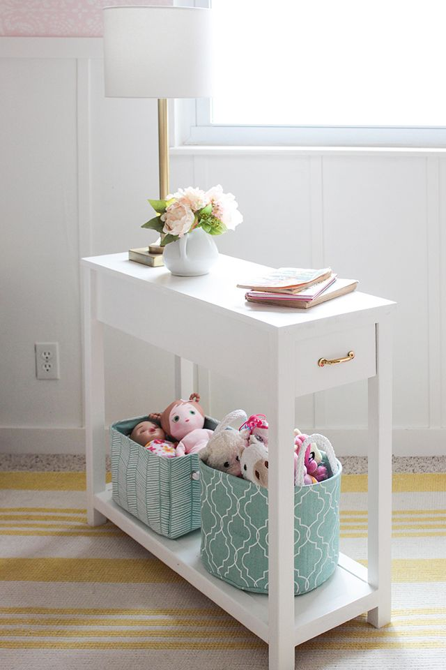 How to build a nightstand for a daybed. Long and narrow size to take up minimal floor space but also offer tons of storage. Great for sofa end table too!