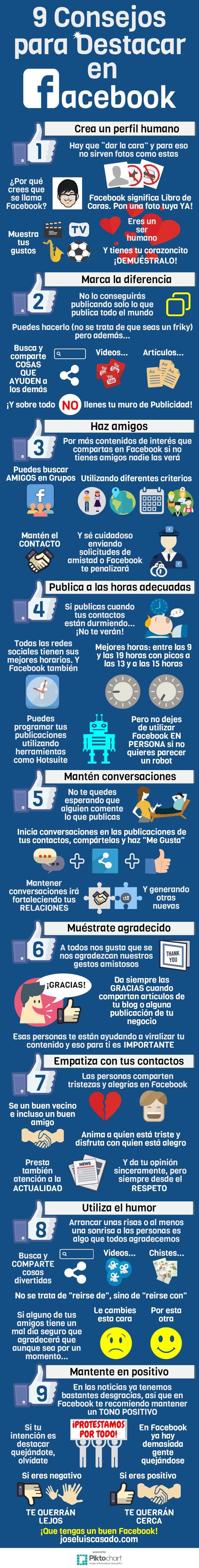 9 consejos para destacar en FaceBook #infografia http://www.rebeldesmarketingonline.com/webinar/landing_101_errores.html