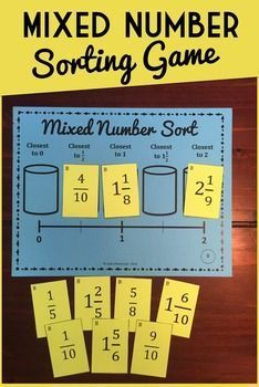 This Fraction Sort Game will build reasoning and estimation skill for students as they learn to compare and order mixed numbers. Each student is given a different game mat and a deck of 10 fraction cards.  Students sort the fractions into one of five buckets based on size.By sorting fractions in this way, students will be able to develop their own strategies for judging the size of a fraction.