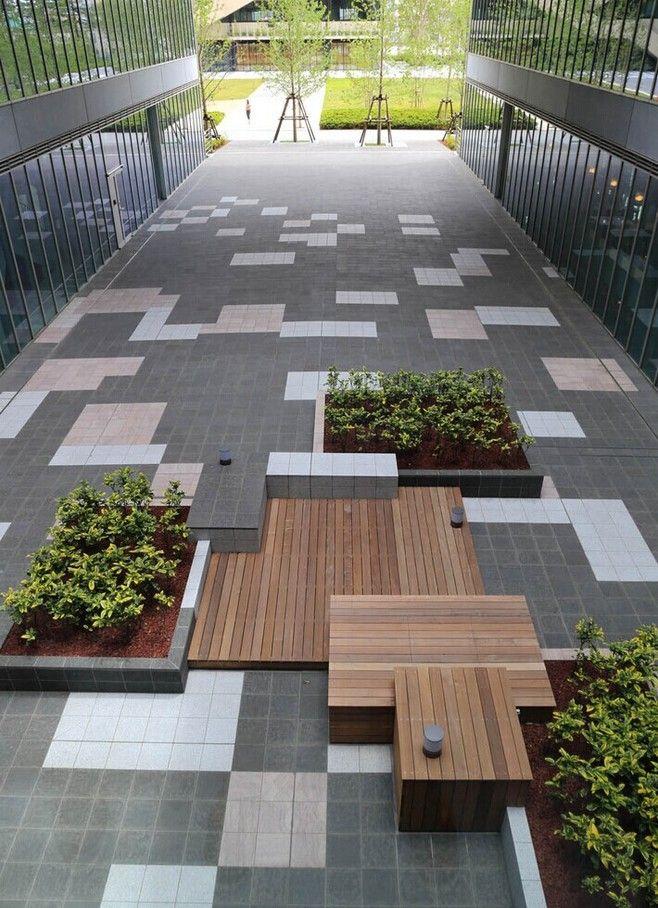 校园中庭广场铺装及休息平台