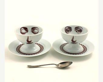 CIJ verkoop Christmasinjuly 2 porselein Ice Cream Bowl schotel oog vrouw gezicht Lace kraag wit bruin romantisch grillige