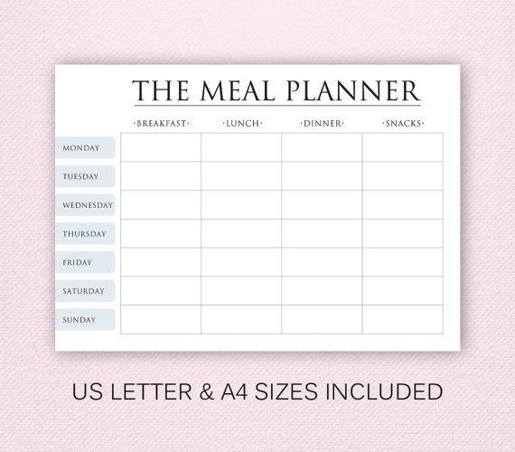A4 Stampabile Meal Planner piano settimanale dei di EasyOrganize1