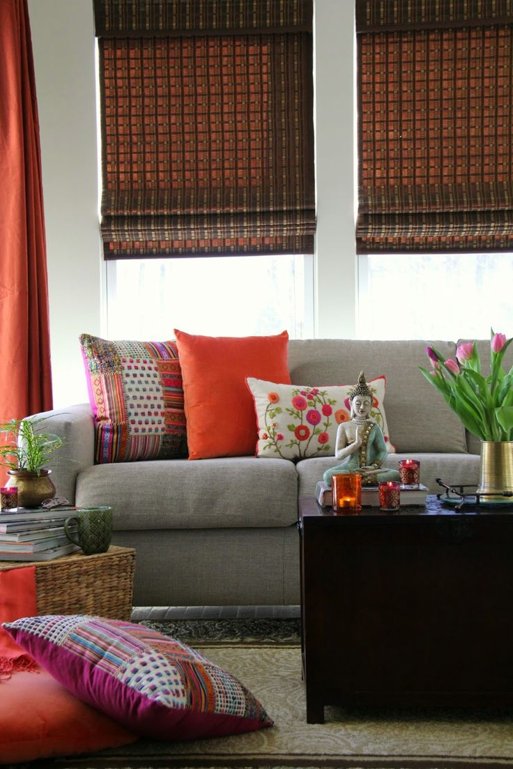 A Modern Indian Corner Finds Its Bliss With Jute Roman Shades And Chic Floral Pillows