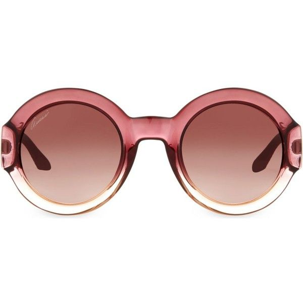 GUCCI Gg3788 round-frame sunglasses ($275) ❤ liked on Polyvore featuring accessories, eyewear, sunglasses, burgundy, round frame glasses, gucci eyewear, gucci glasses, burgundy glasses and round frame sunglasses
