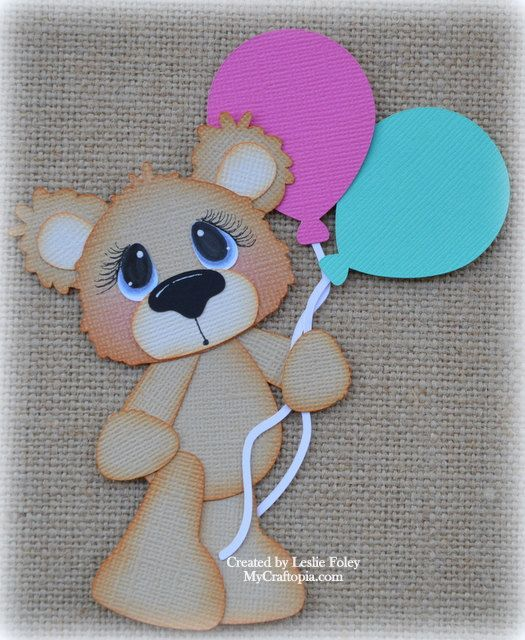 Bear with Balloons Premade Scrapbooking by MyCraftopia on Etsy