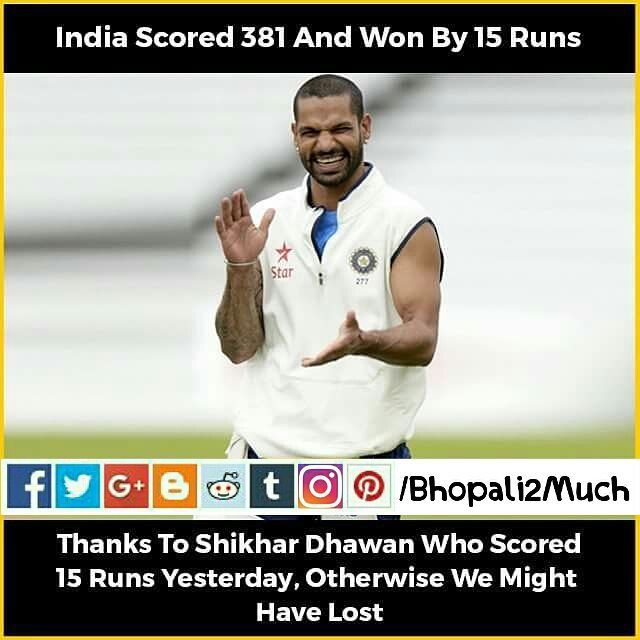 Thanks yo shikhar dhawan otherwise we might lost the match .. #cricket #game #IndVsEng #love #b2m #justkidding #happy #instagram #picture #meme #message #shikhardhawan #india