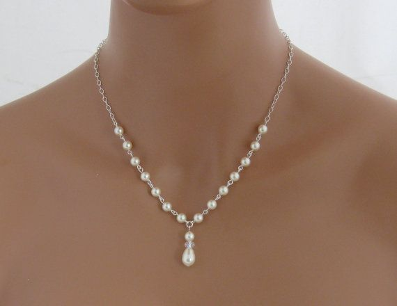 Bridal Necklace and Earring Set Wedding Jewelry set with Swarovski Ivory Pearls Bridal Jewelry