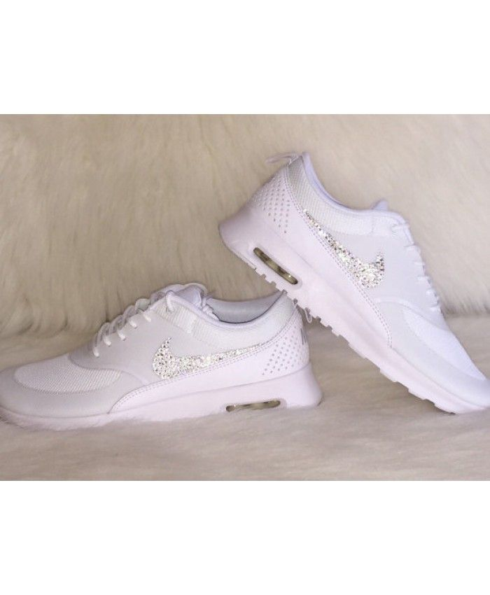 5a35c817f10d Nike Air Max Thea Trainers In White with Swarovski Crystals   Butki ...