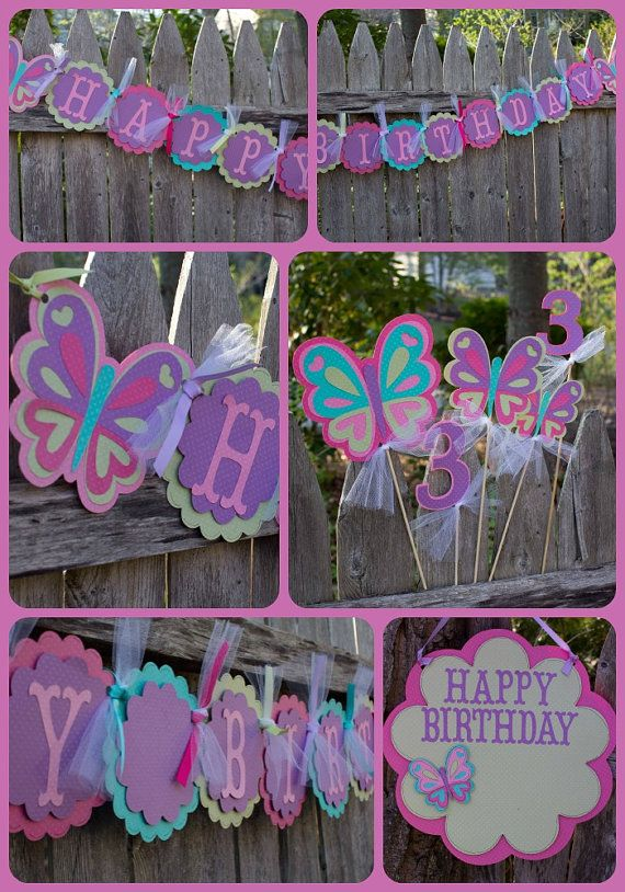 Butterfly Birthday Package - two banners, centerpiece, door sign - Limited Edition - NEW IN SHOP! #4heartspapercraftco #butterflybirthday