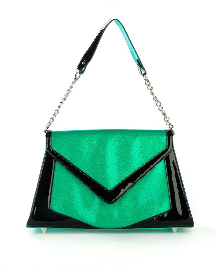 Chevron Purse in Green Glitter Vinyl and Black Trim