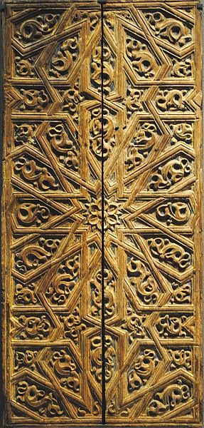 Image LOU 063 featuring door or doorway, showing Geometric Pattern and Floriated Arabesque using carved masonry or stone relief.