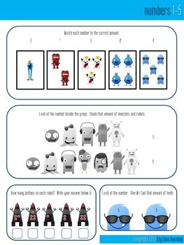 This is a 3 lesson sample of the Monsters vs Robots Mathematics and Literacy Fun unit that I have been working on. The 3 pages are: numbers 1-5, adding numbers and nouns. They are Common Core aligned.