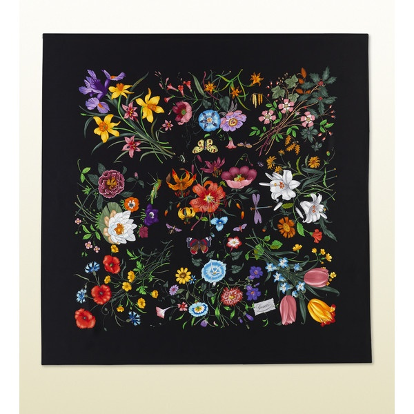 Gucci 90x90cm Black Flora Silk Printed Scarf ($400) ❤ liked on Polyvore