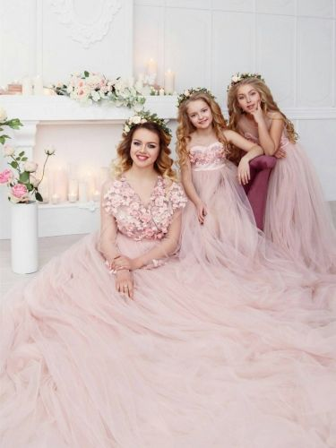 c75bf5efdf28 Blush Color Long Train Mother and Kids Parenting Dress 2 Pieces ...