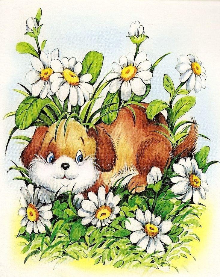 Картинки красивые, собачка с цветами картинки для детей