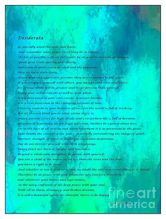 Desiderata Blue Watercolor by Barbara Griffin