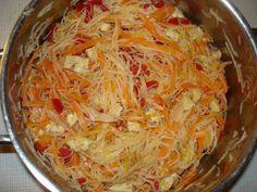 Das perfekte Funchosa koreanischer Glasnudelnsalat-Rezept mit Bild und einfacher Schritt-für-Schritt-Anleitung: Gemüse in Streifen, Zwiebeln in Halbringe…