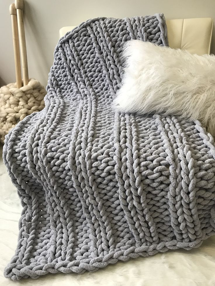 Chunky Chenille Blanket Double Ribbing Pattern Diy