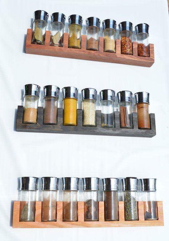 Minimalist Spice Rack Stained Wood by AdamsElementalDesign on Etsy, $30.00