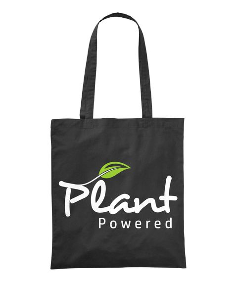 Plant Powered Black Tote Bag Front