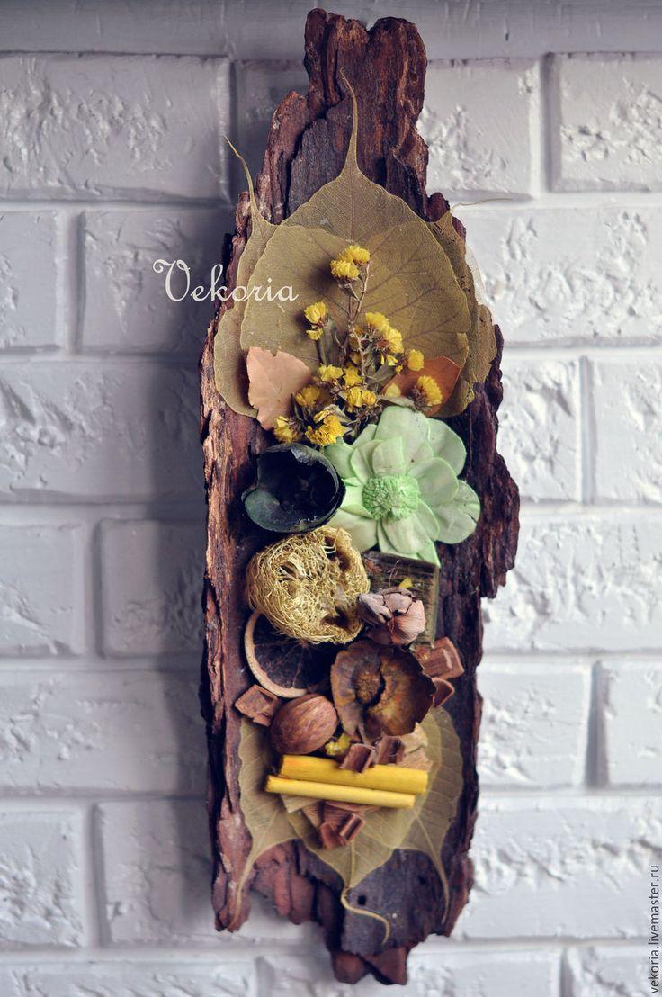 """Купить Панно """"Салатовый сад"""" - панно, панно из коры, из коры панно, панно на стену"""