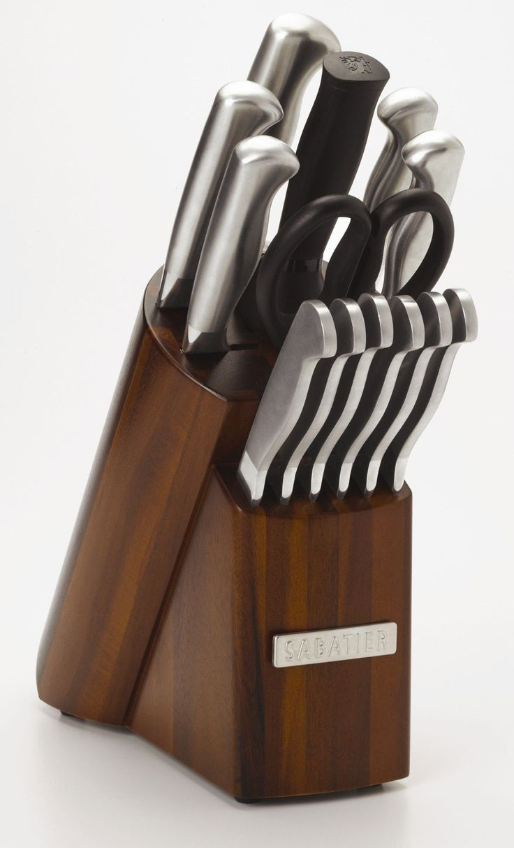 """Features:  -Set includes: Chef, slicer, 5.5"""" serrated utility, 1.5"""" fine-edge utility knife, paring knife,  (6) steak knives, EZ angled sharpening steel, all purpose kitchen shears and acacia wood blo"""