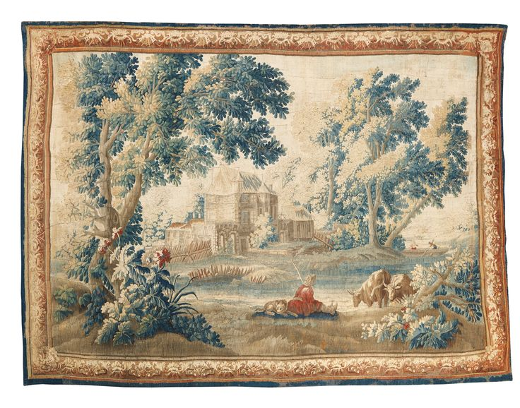 Jacques-Nicolas Julliard (1719-1790) was appointed  cartoon painter for the Aubusson and Felletin tapestry workshops in 1755. A landscape painter who trained under François Boucher, his  influence can be see in the bucolic subjects produced during this period. Indeed the present tapestry incorporates many of the salient elements of his work: small villages and farmhouses, shepherds, and fishing boats, often in the background as shown in the present example.