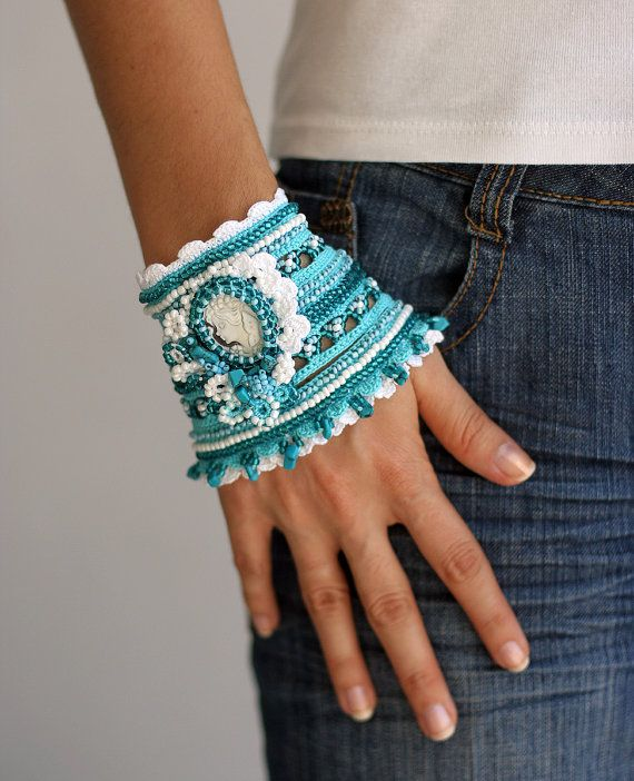 Marine crochet bracelet in white and turquoise with by ellisaveta, $82.00