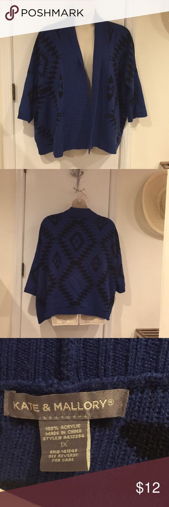 Blue tribal print open sweater Really cute tribal print sweater with 3/4 length sleeves. Great layering piece and very warm. Kate & Mallory Sweaters Cardigans