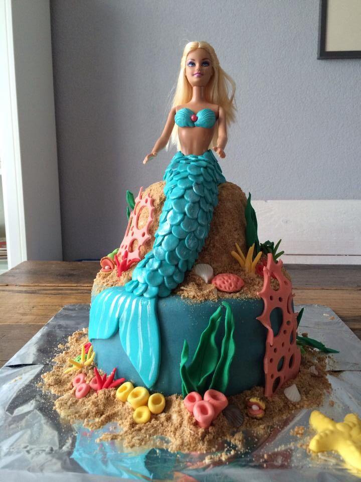 Zeemeermin Barbie taart