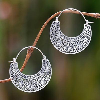 Ornately Detailed Sterling Silver 925 Hoop Earrings, 'Garden of Eden'