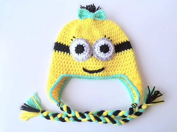 Crochet Minion photo prop Hat  Minion Beanie  by ThaBeanieBoutique