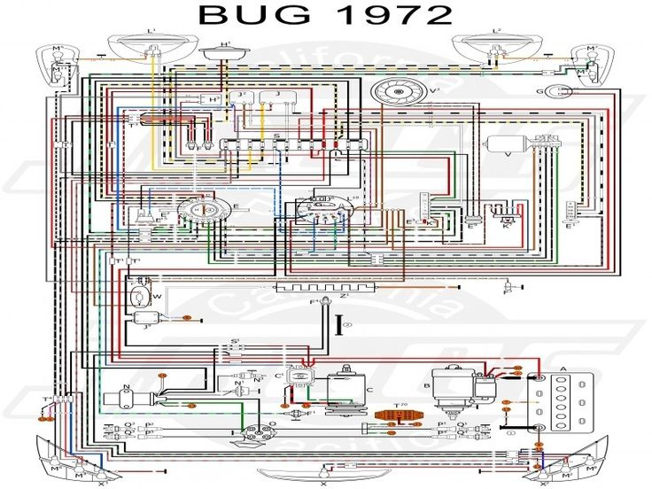Vw Tech Article 1972 Wiring Diagram (With images) | Vw bug ...