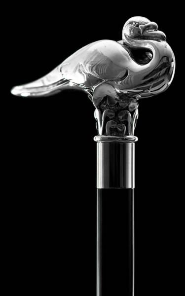 Swan Cane in silver plate as used by Hercule Poirot