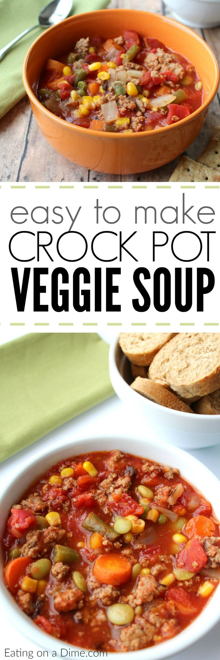 You are going to love this easy Crock pot Veggie Soup. This crock pot vegetable soup with frozen vegetables is quick to throw together and tastes amazing. You are going to love this crock pot soup recipe!