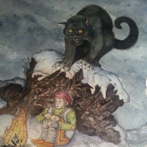 From հվϲցɑղ հվϲցɑղ @Nova_Hycgan The #Yule Cat Jólakötturinn is a monster from Icelandic folklore, a huge and vicious cat said to lurk about the snowy countryside during Christmas time and eat people who have not received any new clothes to wear before Christmas Eve. #FolkloreThursday