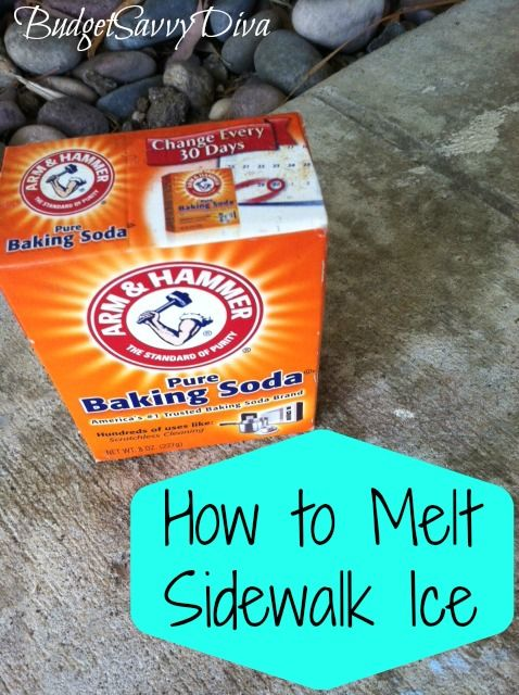 How to Melt Sidewalk Ice : Don't spend money on store bought de-icers, use this frugal tip instead: Sprinkle baking soda onto your porch/sidewalk/steps and the ice will melt away! Using this method is also safer for wood and concrete as opposed to store bought methods