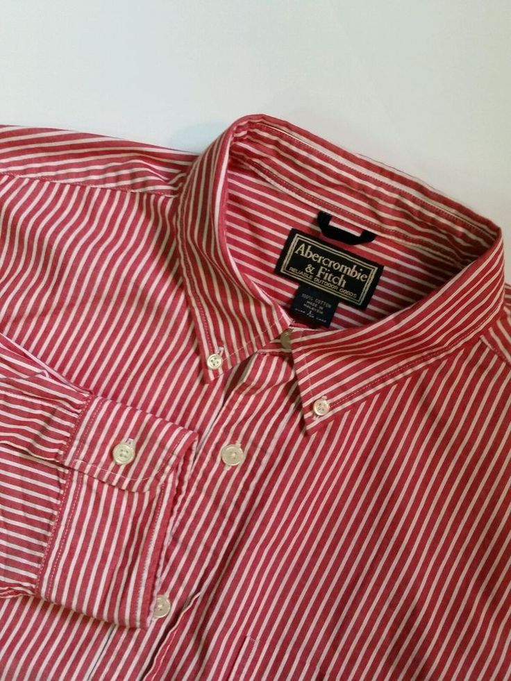 Abercrombie & Fitch Red/White Striped Long Sleeve Button Down Shirt L Large #AbercrombieFitch #ButtonFront