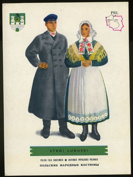 Man and woman wearing traditional clothes of Stroj Lubuski, Poland;Polish folk costumes